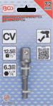 Adapter voor boormachines aandrijving buitenzeskant 6,3 mm (1/4) / uitgaande buitenvierkant 12,5 mm (1/2)