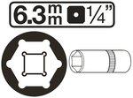 Dopsleutel zeskant diep 6,3 mm (1/4)