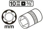 Speciale dopsleutel/schroefuitdraaier (3/8) 10-19mm