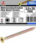 Multifunctionele Schroeven, 3,0 x 20 mm, T10, 260 stuks