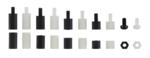Afstandhouderschroeven en assortiment zeskantmoeren Nylon 300-delig