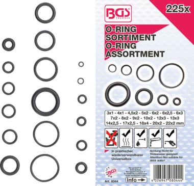 O-ring-assortiment diameter 3 - 22 mm 225-dlg