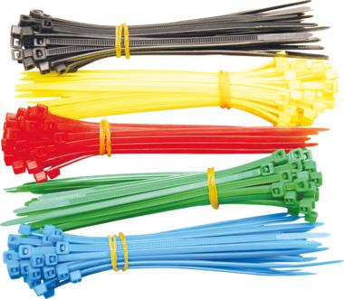 Kabelbinder,assortiment, 5 kleuren, 200 st