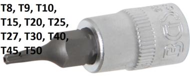 Dopsleutelbit 6,3 mm (1/4) T-profiel (voor Torx) met boring
