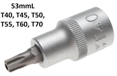 Dopsleutelbit 12,5 mm (1/2) T-profiel (voor Torx) met boring