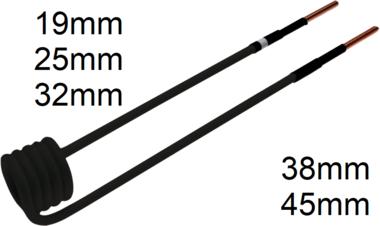 Inductiespoel voor inductieapparaat 90° haaks