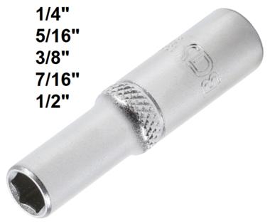 Dopsleutel zeskant, diep 6,3 mm (1/4)