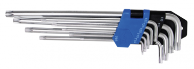 Stiftsleutelset extra lang T-profiel (voor Torx) T10 - T50 9-delig