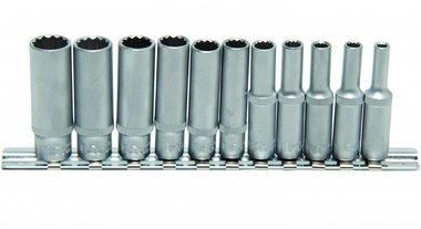Dopsleutel set, diep, 12-kant, 6,3 (1/4), 11 delig
