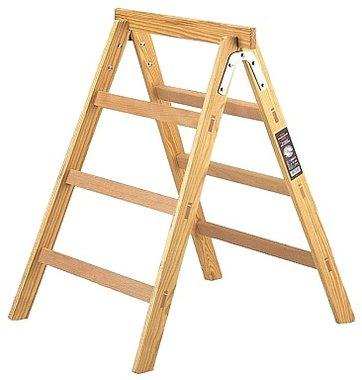 Houten sta-ladder + schraag HAB 150