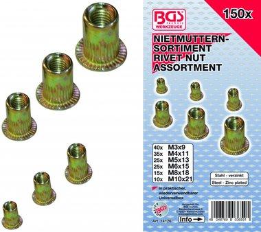 150-delige Rivet Nuts assortiment, gegalvaniseerd staal