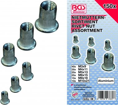 150-delige Rivet Nuts assortiment, aluminium