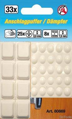 33-delige elastische stopper set, vierkant-achtig, wit, zelfklevend
