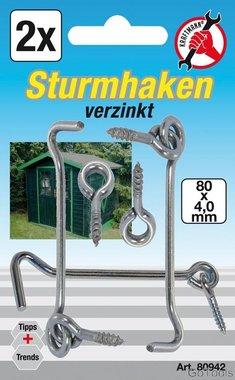 2-delige lock gate hook en eye set, 4,0 x 80 mm