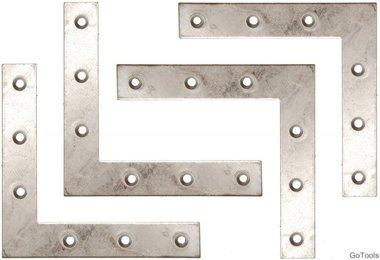 4-delige bracket steel kit, 100x100x15 mm