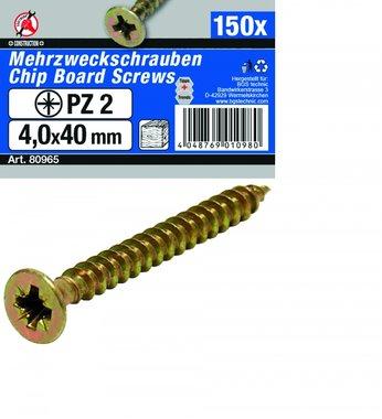 Multi purpose schroeven 4,0 x 40 mm, 150 delen