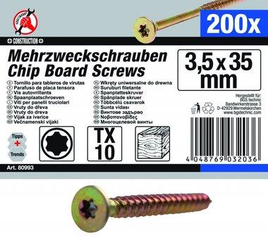 Multi-Purpose Schroeven, 3,5 x 35 mm, T10, 200 stuks