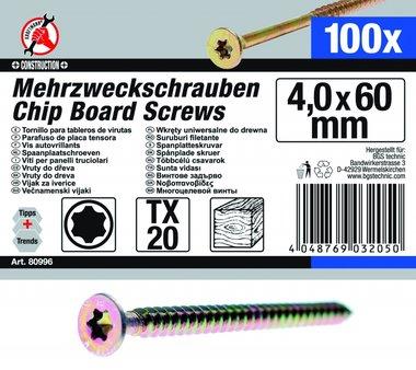 Multi-Purpose Schroeven, 4,0 x 60 mm, T20, 100 stuks