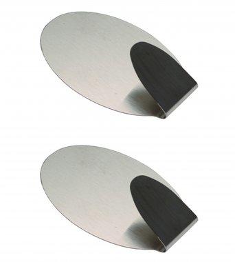 2-delige RVS Adhesive Hooks 3,5 x 5 cm laadvermogen max. 1,0 kg