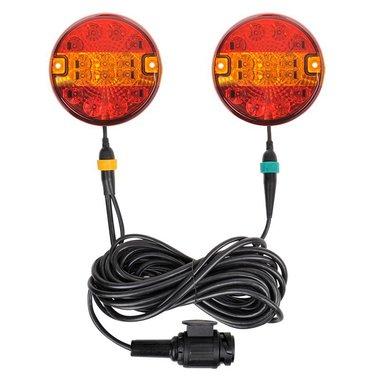 Aanhangerverlichtingsset LED 3F met magneten 7,5+2,5M kabel 13P.
