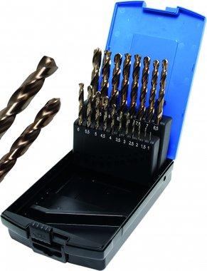 19-delige Twist Drill Set, HSS-G M35 Cobalt Steel, 1-10 mm