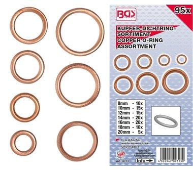 O-ring-assortiment koper diameter 6 - 20 mm 95-dlg