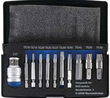 11-delige Screw Extractor Set voor beschadigde Torx T10-T55