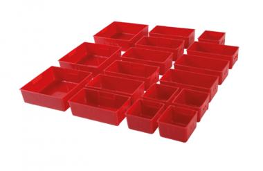 Plastic Strorage Trays voor werkplaatskar 17 delig