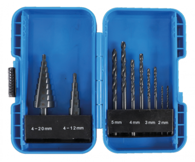 Spiraalboren en trappenboorset HSS diameter 4 - 12 / 4 - 20 mm 2 - 5 mm 10-delig