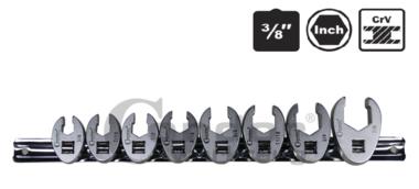 Crow-voetsleutel set, 8-delig, 3/8, inch 3 / 8-7 / 8