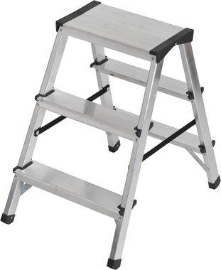 Dubbele trapladder aluminium 2x3 sporten Hoogte bok ladder 0,61m
